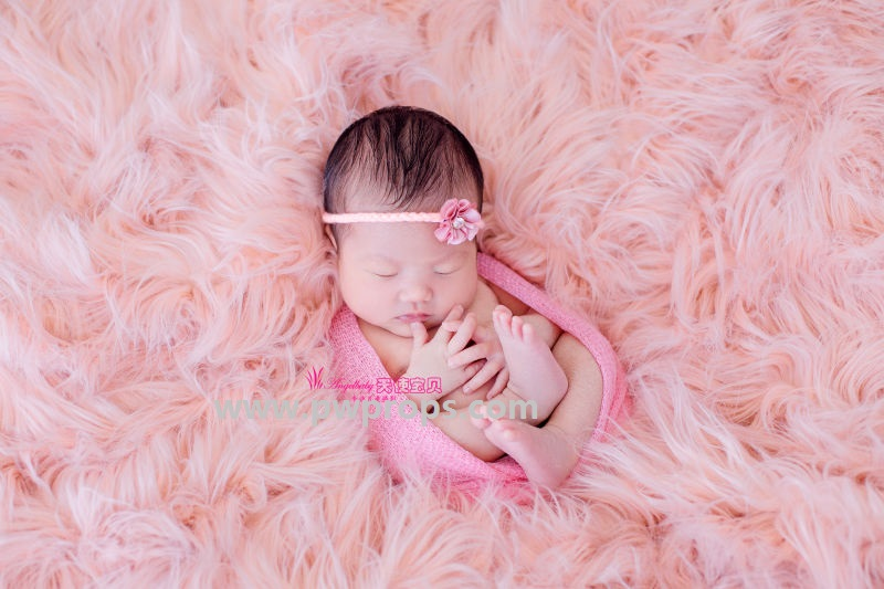 Pink Mongolian Faux Fur Newborn Photography Props In