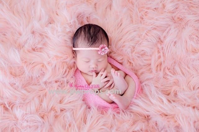 Pink mongolian faux fur newborn photography props