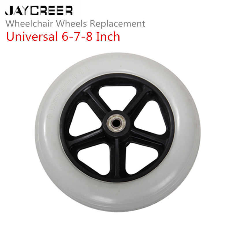 JayCreer 6 Inch ,7 Inch,8 Inch inner hole diameter 8mm Wheel Replacement For Wheelchairs, Rollators, Walkers And More