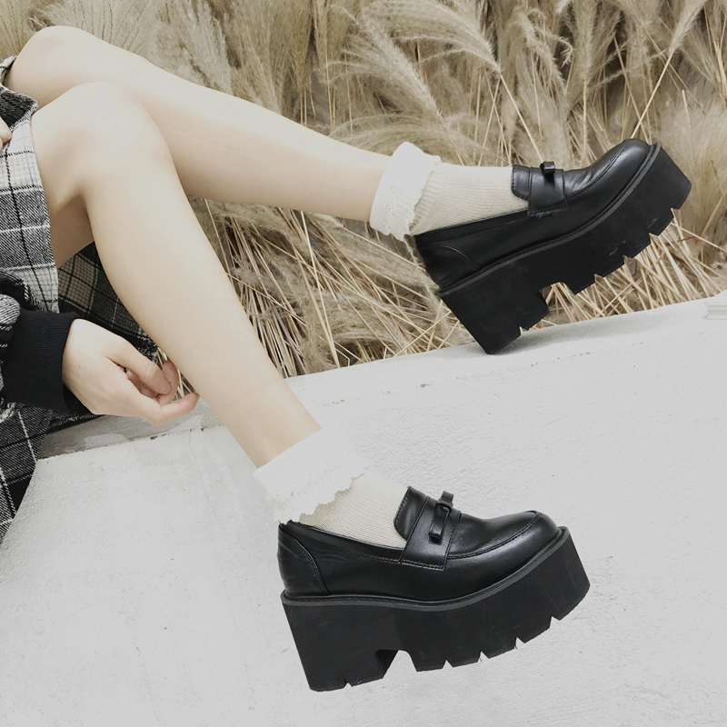Japanese Student Uniform <font><b>Lolita</b></font> <font><b>Shoes</b></font> Cute Bow Round Head Waterproof Platform Black College Women <font><b>Shoes</b></font> image