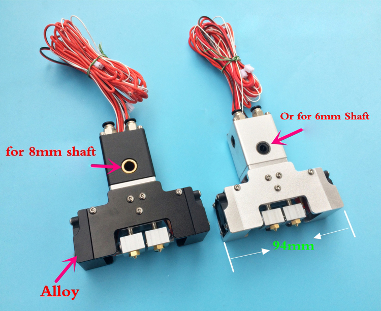 Upgrade! Assembled UM2 Ultimaker 2+ Extended 3D printer Chimera Extruder Dual Extrusion W/ Aluminum cross slider & Fan duct 1pcs 3d printer accessories ultimaker 2 extruder cooling heat sink aluminum seat block