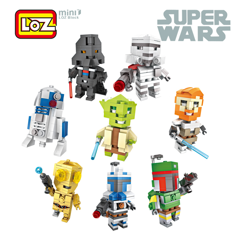 LOZ Star Wars Mini Action Figure R2 D2 Yoda Darth Vader C3PO Stormtrooper Cube Dude Bricks Block Toy For Age 6+ lepin футболка классическая printio r2 d2 star wars dead star