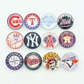 12pcs 18MM NB0420 MLB baseball Team logo Round Domes Photo Print Glass Cabochon snap button fit DIY snap bracelets