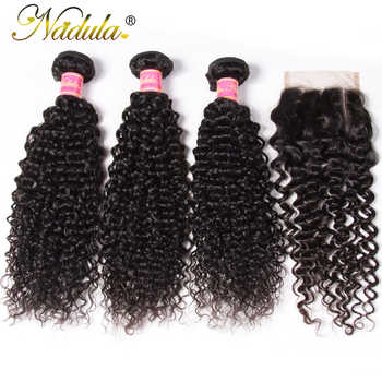 Nadula Hair Bundles and Closure Indian Curly Human Hair Weaves 3 Bundles With 4*4 Lace Closure Free/Middle/Three Part Remy Hair - DISCOUNT ITEM  30% OFF All Category