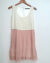 New summer lady temperament sleeveless dress O-neck lace stitching Chiffon Pleated casual
