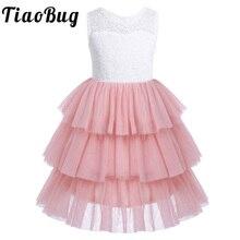 Dziewczyny koronki siatki bez rękawów warstwowa sukienka dla dziewczynki z kwiatami z wysokim stanem potargane siatki księżniczka dziewczyny korowód suknia ślubna sukienka na imprezę SZ 2  14