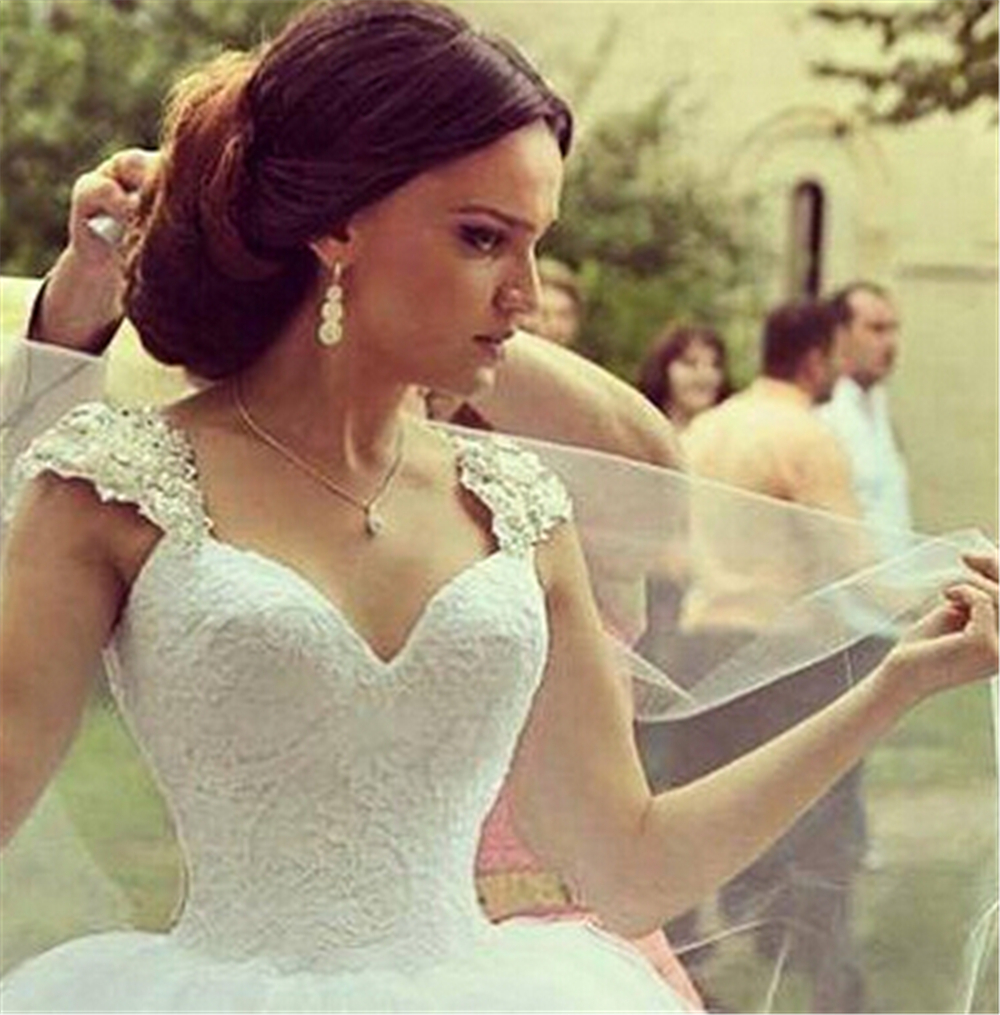 81cf1ac60a421 9030 2016 Beads Crystal Lace White Wedding Dresses for brides with train plus  size maxi size 2 4 6 8 10 12 14 16 18 20 22 24 26-in Wedding Dresses from  ...