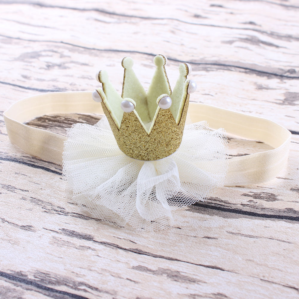 1PC Fashion Lovely Girl Princess Queen Crown Pearl Tiara Headband Lace Birthday Christmas Party Headwear Hair Band Accessories 1pc fashion lovely women girl metal leaf hair clip crystal hairpin barrette headwear christmas party hair accessory 2016 hot