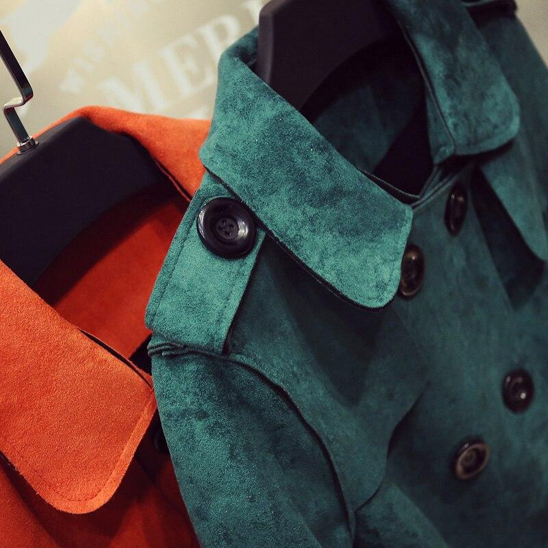 Abrigos Cruzado Diseño Coats Tela 2017 verde Gris Alta Trench Invierno Largo Calidad naranja Abrigo Ropa Gamuza rosado Mujeres De Las Streetwear qOyBE6t