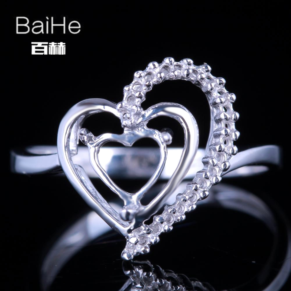 BAIHE Solid 10K White Gold Certified Heart Engagement Women Cute/Romantic Fine Jewelry Elegant unique Semi Mount Ring           BAIHE Solid 10K White Gold Certified Heart Engagement Women Cute/Romantic Fine Jewelry Elegant unique Semi Mount Ring