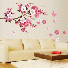 Cherry Blossom Стены Плакат Фон Водонепроницаемый Наклейки для Спальни Кафе Декор стикеров стены Домой