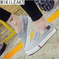 Wikileaks 2016 Venta Caliente Mujeres Casual Solid Banda Elástica Zapatos de Lona Mujer Plana Con Bajos Zapatos Estudiantiles Zapatos de corte Mujer