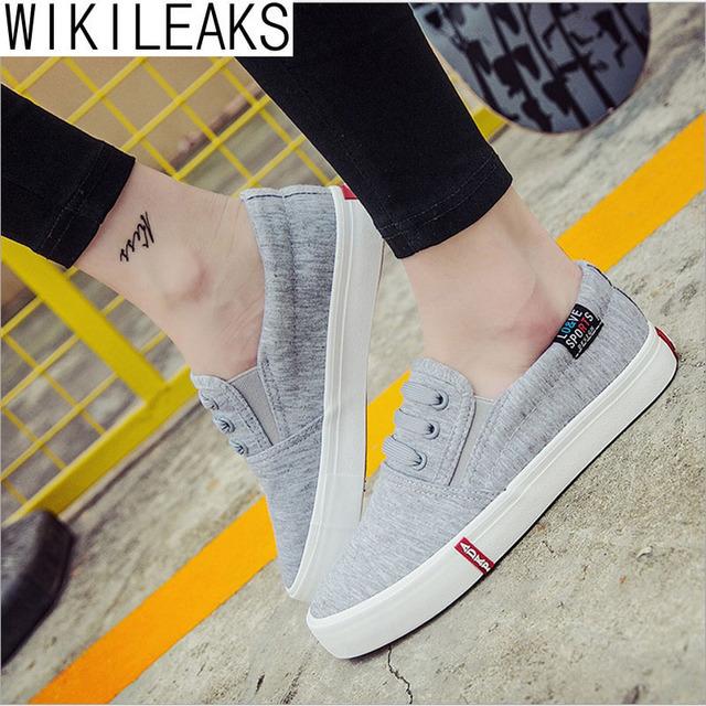 Wikileaks 2016 de Venda Quente Mulheres Casuais Sólido Elástico Plana Sapatos de Lona Mulher Com Menor-cut Sapatos Estudante Sapatos Zapatos Mujer