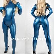 Сексуальная Дамская плотно соединенная одежда для близнецов натуральный резиновый латексный комбинезон синий металлик с перчатками другой цвет