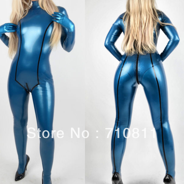 Sexy Lady tight conjoined twin clothes nature rubber latex catsuit Metallic blue with gloves other color