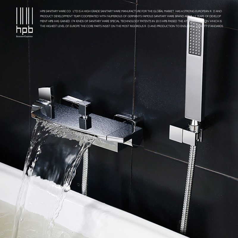HPB 2018 New Arrival Brass Polish Chrome Bathroom Bathtub Bath & Shower Faucet Set Hot And Cold Mixer Tap Dual Handle BU-5401 free shipping polished chrome finish new wall mounted waterfall bathroom bathtub handheld shower tap mixer faucet yt 5333