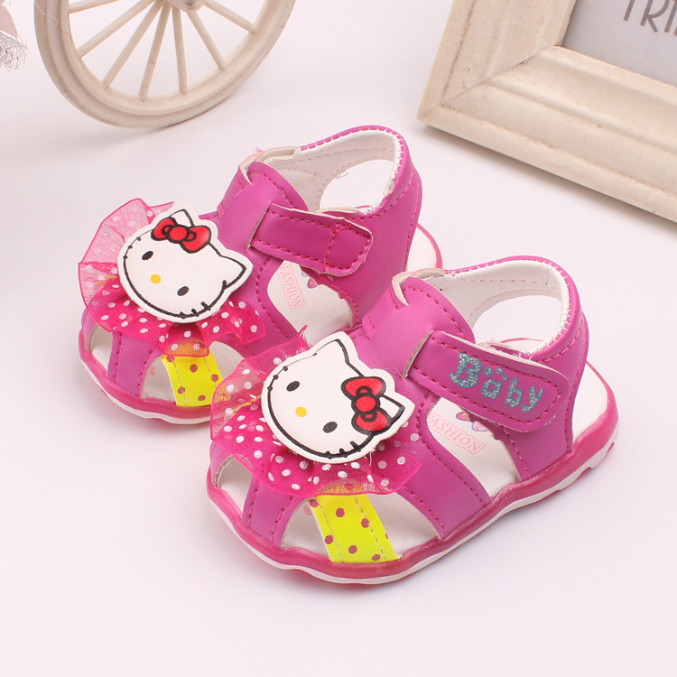Mother & Kids First Walkers J Ghee New Summer Shoes For Children Cartoon Hello Kitty Lace Toddlers Soft Baby Girl Shoes Childrens Shoes Led Light Size15-19