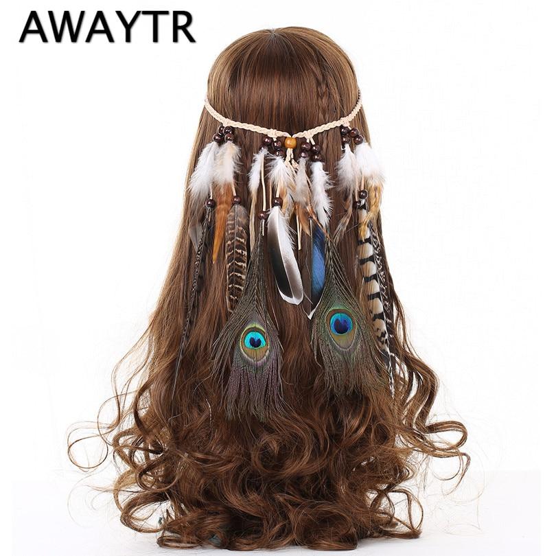 Headbands for Women AWAYTR Indian Feathers Headband Fashion Boho Girls Festival Beads Gypsy Feather Hair Accessories