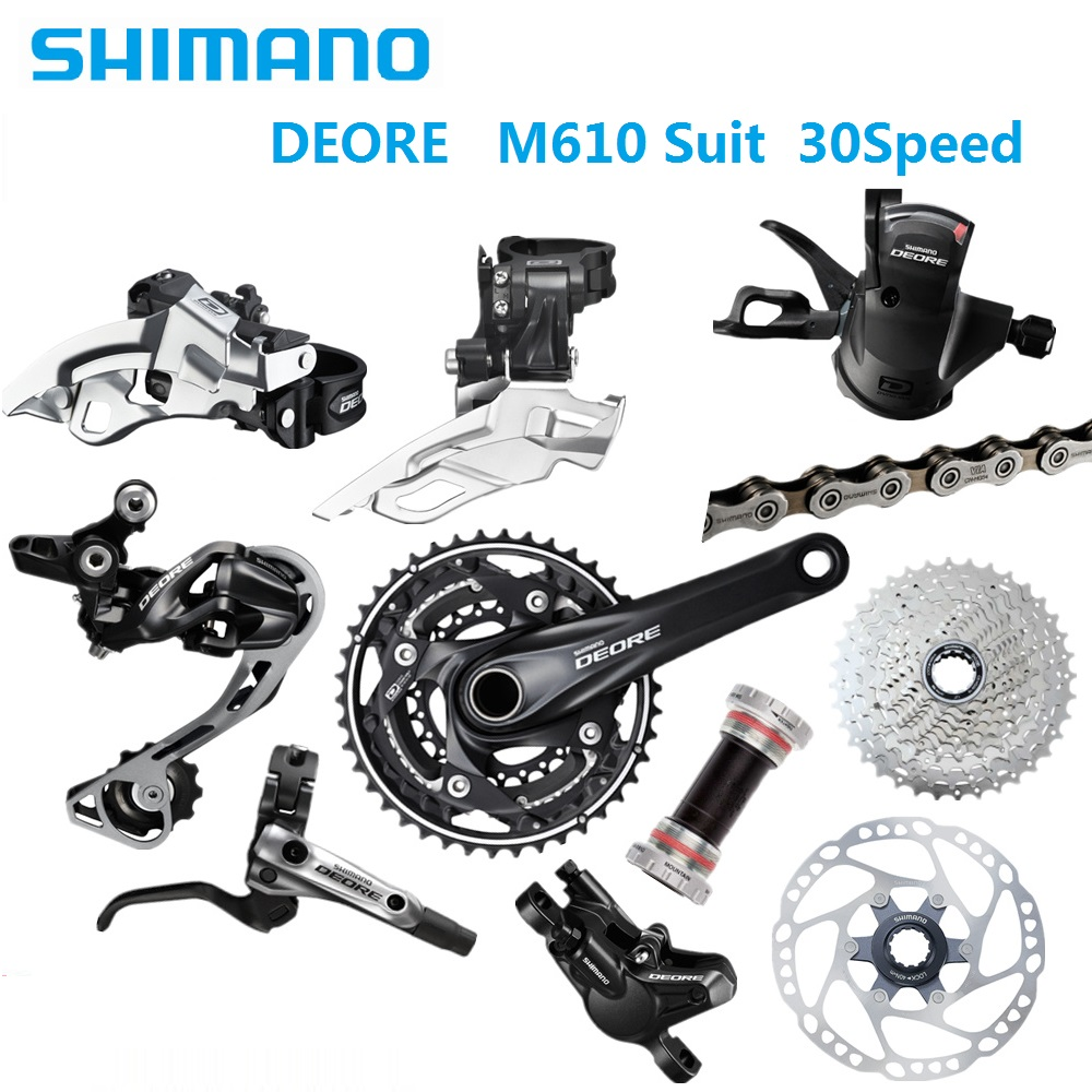 US $92 17 8% OFF|MTB Mountain Bike Bicycle Derailleur Set Shimano Deore  M610 Suit 3x 10S 30 Speed Shift Lever shimano kmc Chain Hydraulic Brake-in