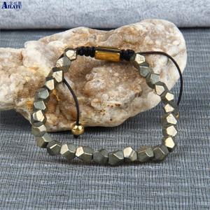 Image 5 - Ailatu benzersiz hediyeler, erkek el kesim boncuklu doğal pirit taş makrome bilezik takı erkekler ve kadınlar için