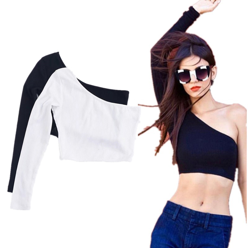 1pc New Fashion Sexy One Shoulder Club Crop Top Femal Knitted Party Top Streetwear Elastic Short Cropped Cami Tees