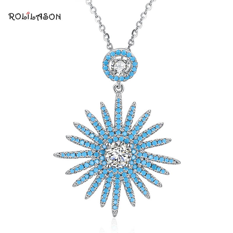 6.6g Amazing Fashion real 925 sterling silver Blue Ametrine Sun necklace pendant chain jewelry for women SP63