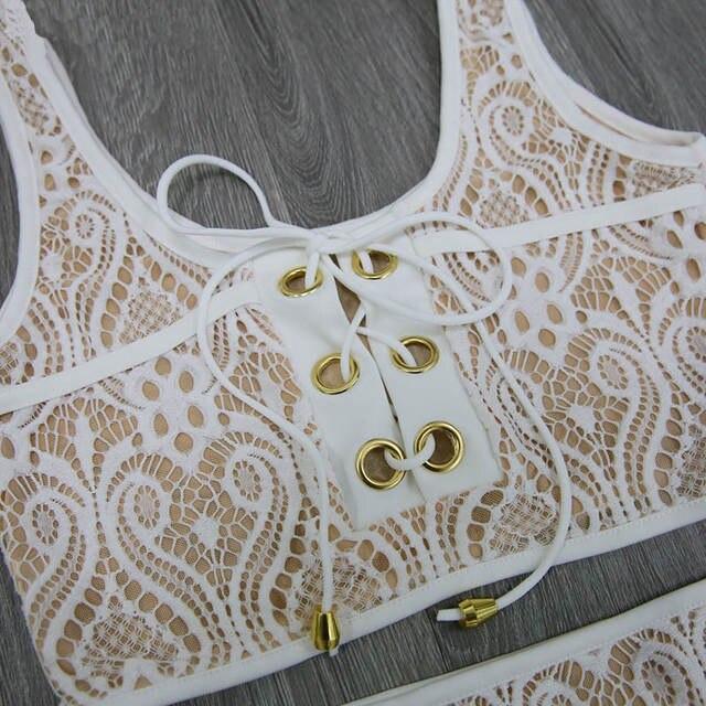 ab9348d2bcbf Sporlike Blcak Branco Rendas Cintura Alta Swimsuit Bikini Set 2017 Sexy  Biquínis Sólida Banting Das Mulheres Empurrar Para Cima Swimwear Terno de  ...