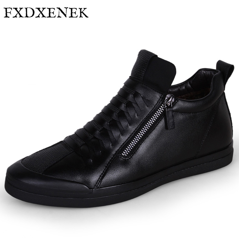 FXDXENEK Brand Microfiber Leather Shoes Fashion New Style Soft Winter Plush Warm Men Casual Shoes High Top Black Men Flats Shoes 2016 new style summer casual men shoes top brand fashion breathable flats nice leather soft shoes for men hot selling driving