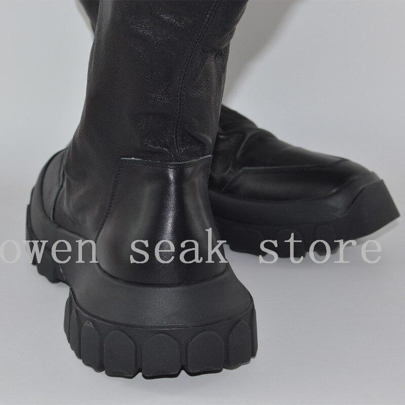 Owen Seak Mannen Schoenen Knie Hoge Laarzen Schapenvacht Lederen Luxe Trainers Winter Laarzen Casual Flats Schoenen Zwart Grote Sneakers op  Groep 2