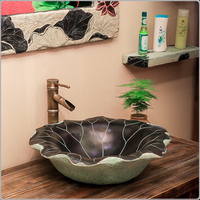 Modern Chinese classical minimalist wash basin above counter hotel bathroom balcony art washbasin lotus leaf LW01016547