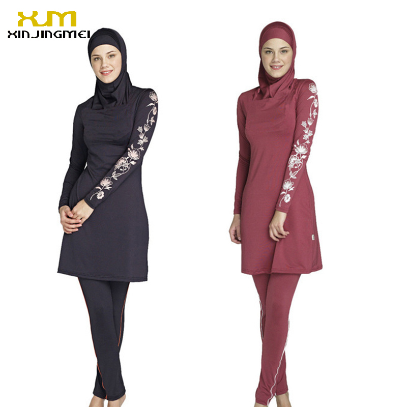 New muslim swimsuit black and red sunscreen islamic ladies' swimwear modest swimwear with flower printed muslim swimming clothes