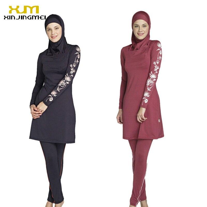 New muslim swimsuit black and red sunscreen islamic ladies' swimwear modest swimwear with flower printed muslim swimming clothes red cross front bodycon swimwear