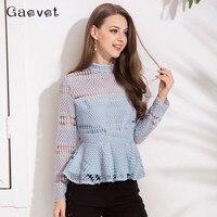 Gaovot 2018 Spring Women Blouse Shirt Series High Collar Lace Hollow Out Sexy Blusas Peplum Back