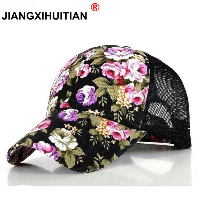 77d0c874f0b 2017 new Floral Print Baseball Caps Flowers Hip Hop Caps Snapback Wholesale  Fashion Women Leisure Flat Bone Breathable mesh caps