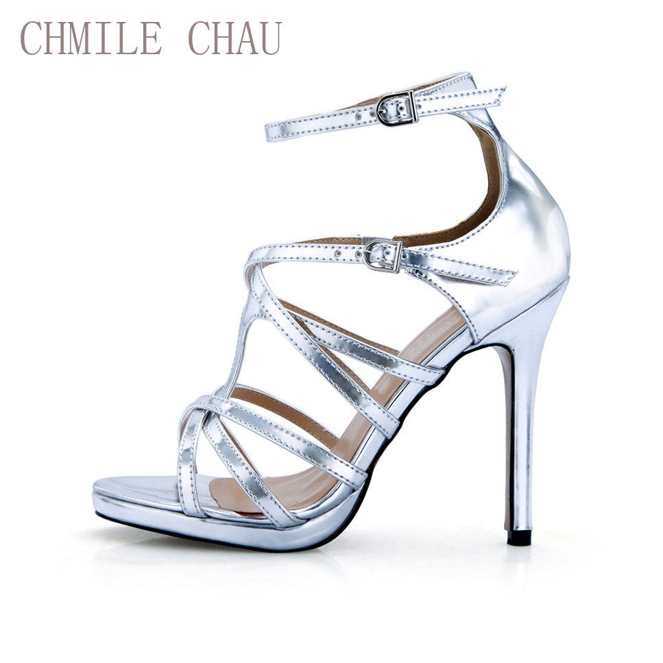 CHMILE CHAU Silver Sexy Party Shoes Women Stiletto High Heels Buckle Strap Gladiator Rome Ladies Sandals Zapatos Mujer 0640A-12a цены онлайн