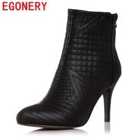 EGONERY winter ankle boots women shoes pointed toe embroidered genuine leather booties back zipper woman heels fashion boots