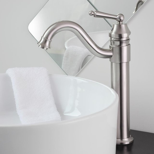 Contemporary Bathroom Lavatory Vanity Vessel Sink Faucet Brushed