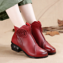 2017 new winter boots sub handmade folk style flowers with thick leather shoes Ladies Boots
