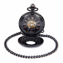 Men Women Steampunk Skeleton Mechanical Black Roman Number Dial Hollow Case Hand Wind Mechanical Pocket Watch Nice Xmas Gift