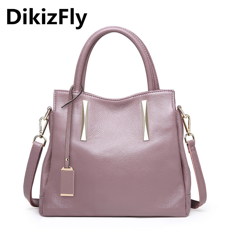 DikizFly New Genuine Leather Women Handbags Ladies Real Leather Totes Bags Women Messenger bags Fashion Casual Female Hand bag women genuine leather handbags ladies personality new head layer cowhide shoulder messenger bags hand rub color female handbags
