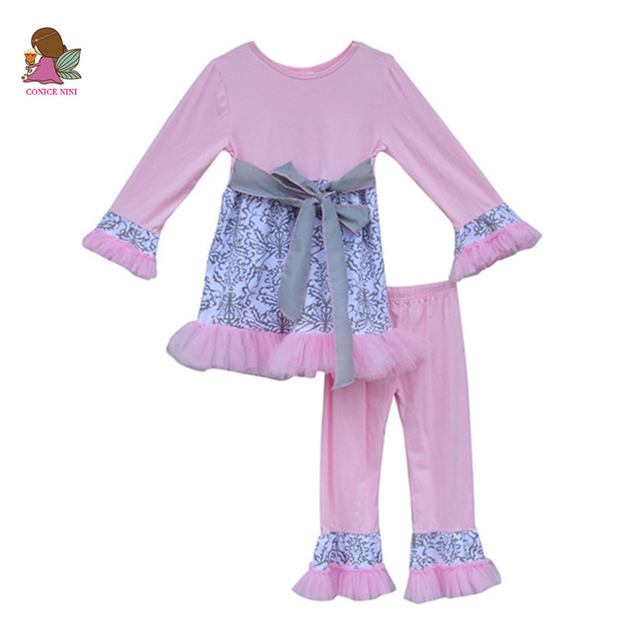 Princess Pink Dress with Belt Ruffle Leggings Boutique Sets Toddler Girls Clothing Sets Wholesale Children Baby Clothes F031
