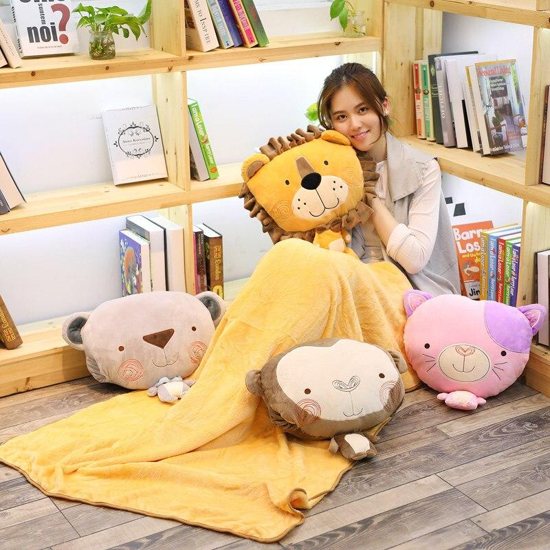candice guo! cute plush toy cartoon forest animal lion monkey bear cat cushion hand warm blanket birthday Christmas gift 1pc