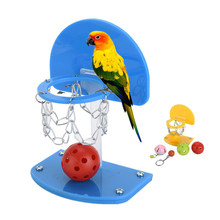 Pet Birds Supplies Funny Mini Basketball Hoop Basketball Shoot Toy for Parrot Intelligence Puzzle Developmental Game Chew Toys(China)