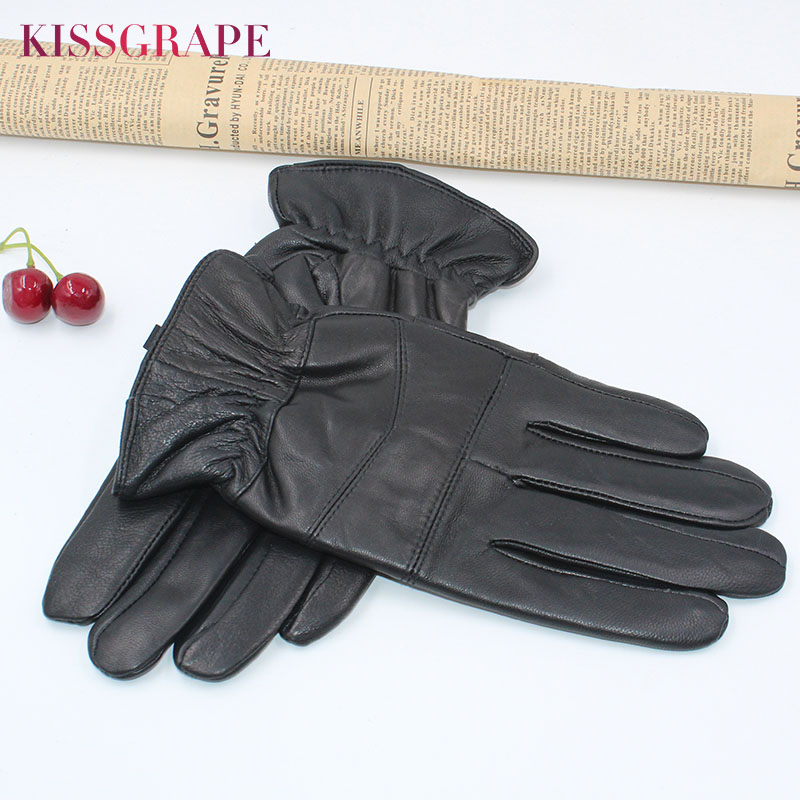 Cheap New Brand Men's Genuine Leather Gloves With Fleece 2019 Winter Warm Real Leather Gloves Driving Mittens Male Outoor Guante