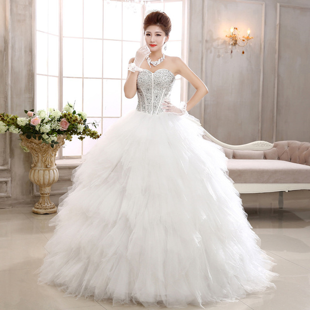 2017 New Swan Bride Diamond Thin Feather Princess Wedding Dress Ball Gown Hand Made