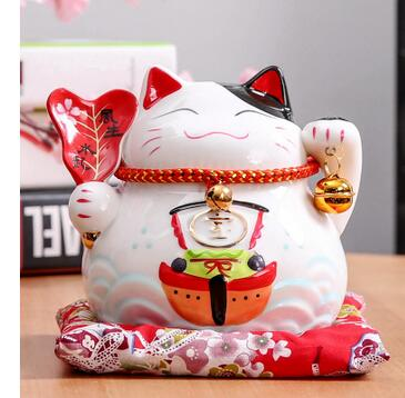 A Japan Lucky Cat Decoration Ceramic Piggy Bank Home Office Decoration piggy business butterfly ornaments ceramic