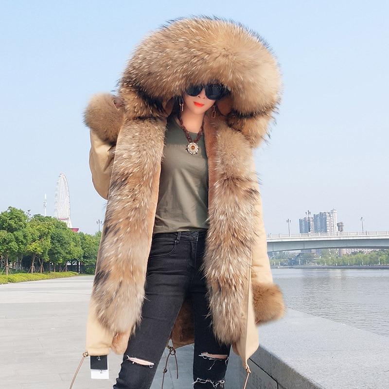 2019 правда мех Парка женская зимняя куртка с капюшоном Теплый мех енота пальто натуральный мех енота Повседневная Parkasfaux пальто с мехом внутр...