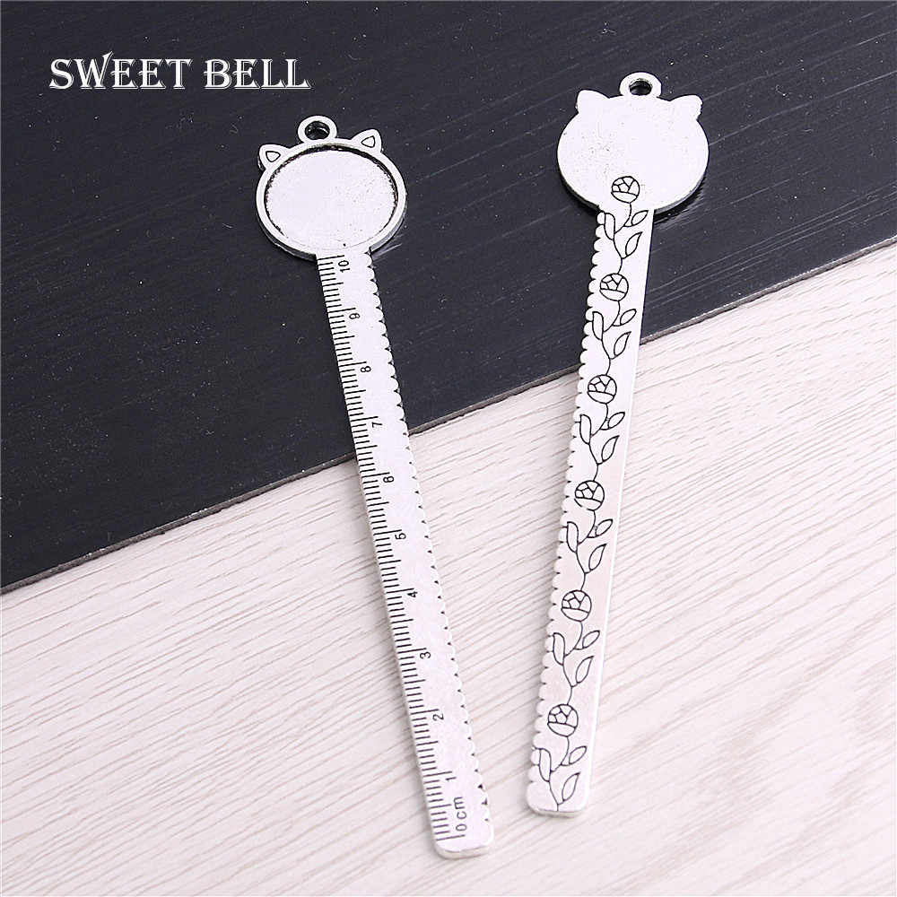SWEET BELL 5Pcs Vintage Metal Zinc Alloy Cameo Ruler cat Bookmarks 20mm Round Cabochon Settings Bookmarks xCharms 13B1606