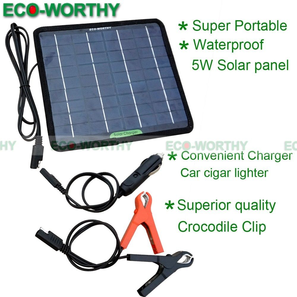 12V 5W Portable Solar Panel Power Battery Charger Backup for Car Boat Automobile solar generator 1 5w solar powered auto car battery charger black