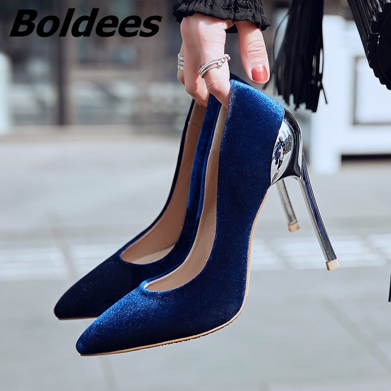 Boldees New Design Velvet Pointed Toe Stiletto Heel Pumps Women Sexy Metal Thin High Heel Shoes Formal Party Dress Shoes Hot ms noki elegant silver new 2017 thin heel pointed toe women shoes sexy party dress fashion shoes comfortable sweet shoes hot